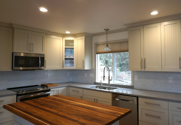 Kitchen Island with Cabinets and Butcher Block