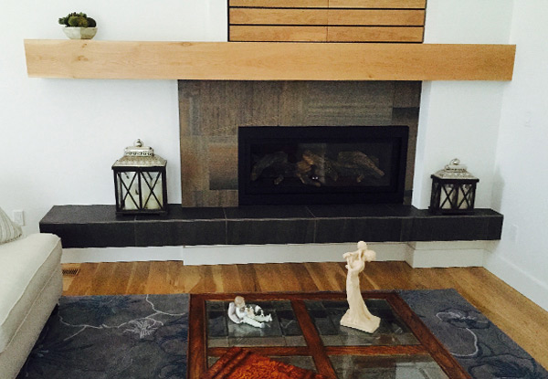 Stone Fireplace and Wood Mantle